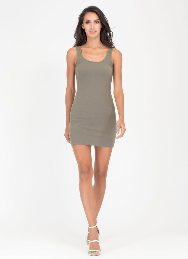 Tanks A Lot Rib Knit Scoop Dress OLIVE
