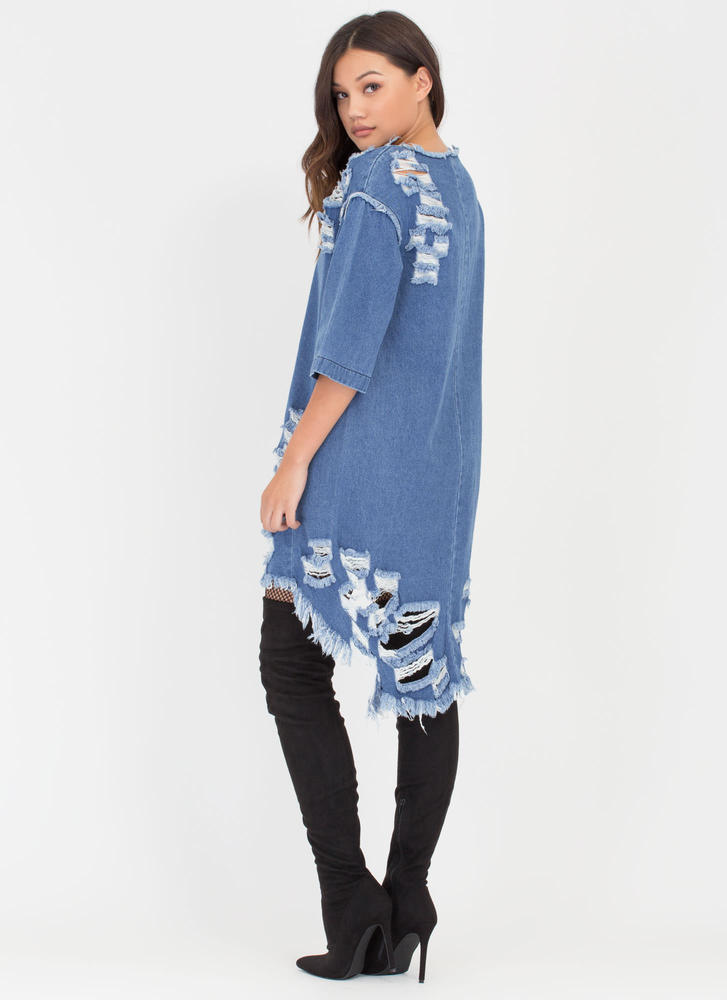 Jean Chaser Distressed High-Low Dress BLUE