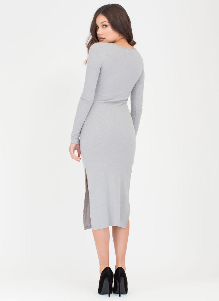 Push My Buttons Ribbed Henley Dress HGREY