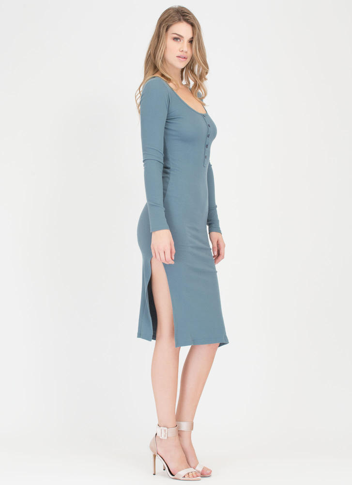 Push My Buttons Ribbed Henley Dress