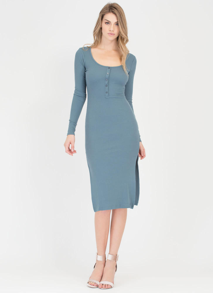 Push My Buttons Ribbed Henley Dress TEAL
