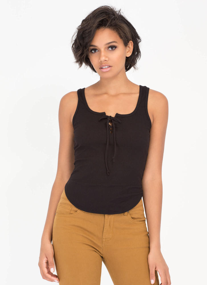 Lace-Up For Grabs Rib Knit Tank Top