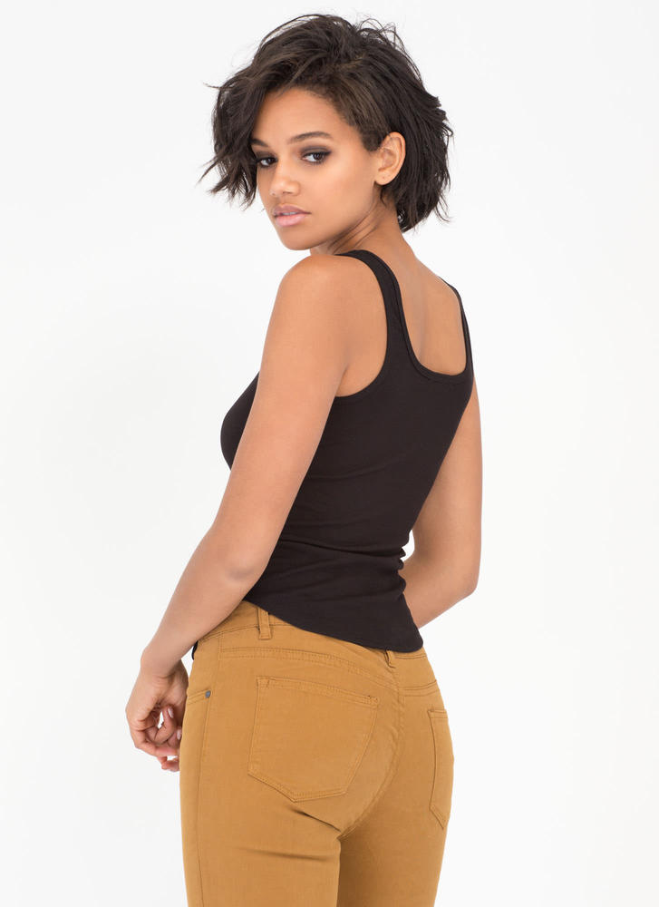 Lace-Up For Grabs Rib Knit Tank Top BLACK