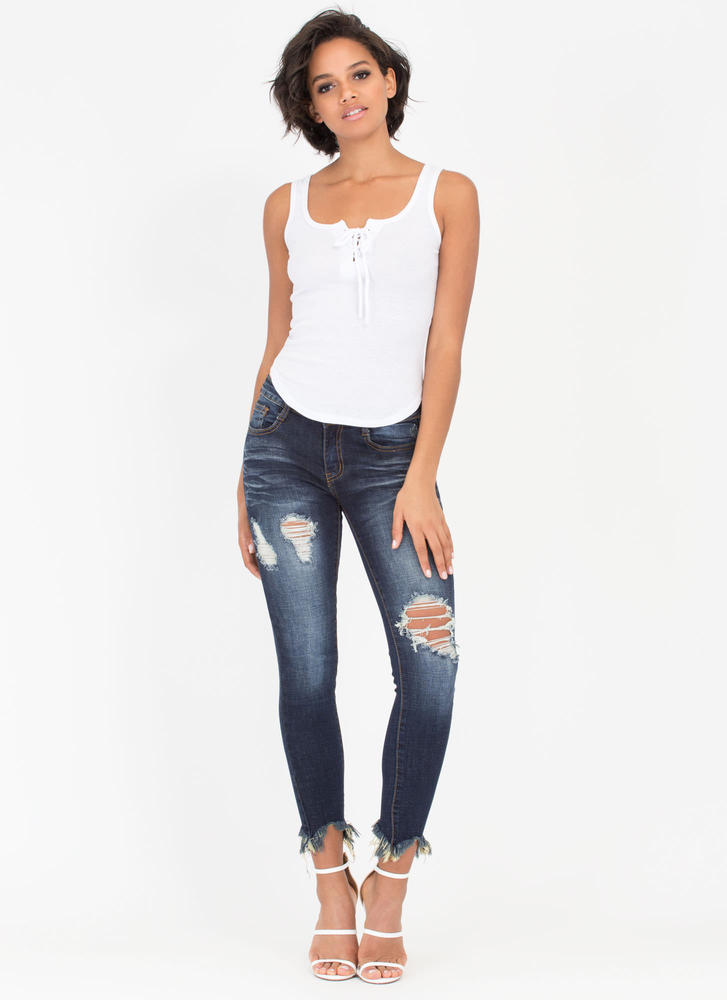 Lace-Up For Grabs Rib Knit Tank Top WHITE