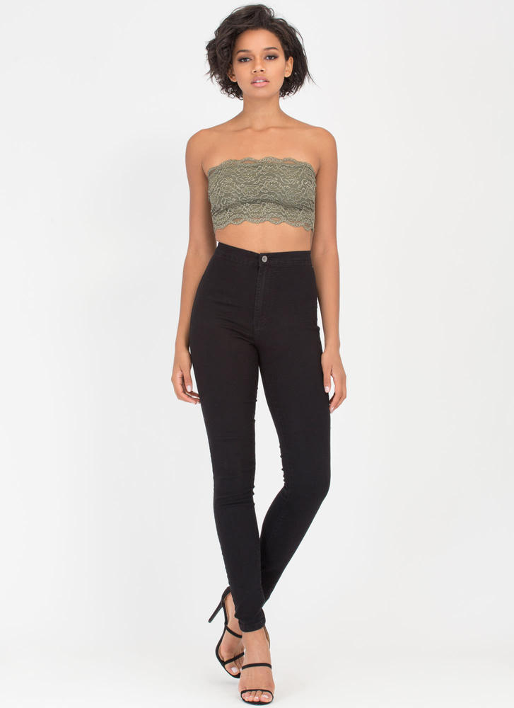 Lace Be Honest Strapless Bralette OLIVE