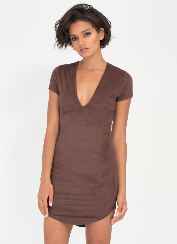 Simply Chic Faux Suede Round Hem Dress CHOCOLATE