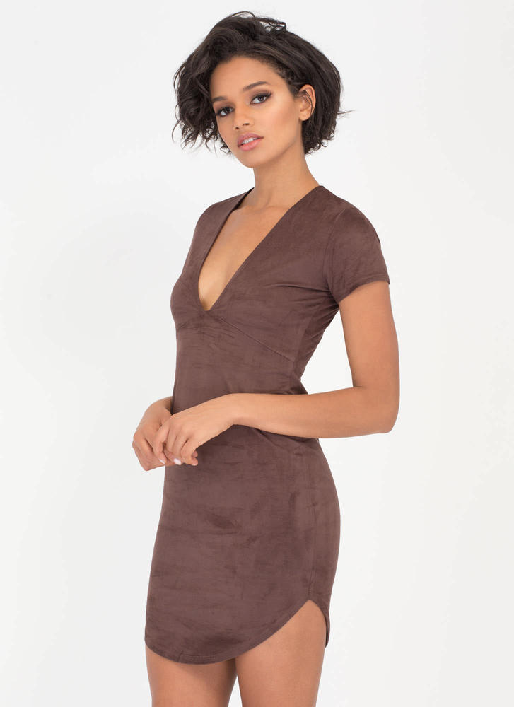 Simply Chic Faux Suede Round Hem Dress CHOCOLATE (Final Sale)