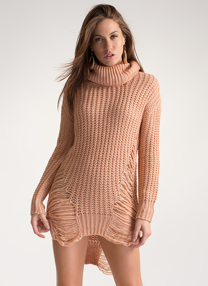 Knit Up Distressed Turtleneck Dress
