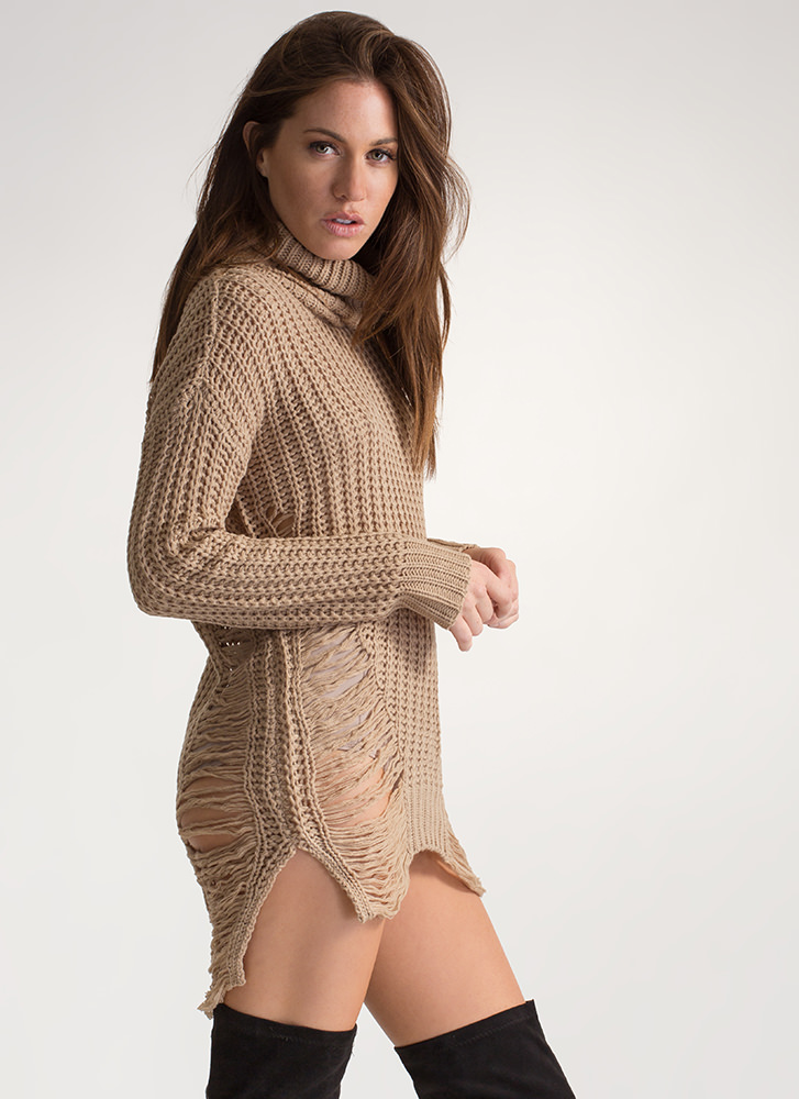 Knit Up Distressed Turtleneck Dress TAUPE