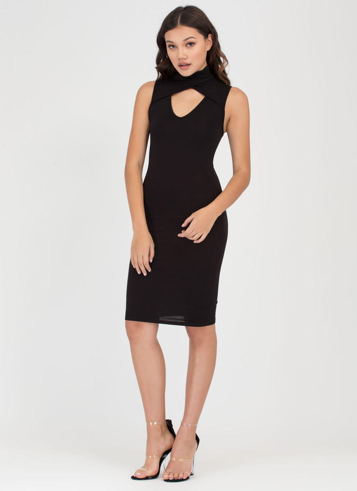Layer It On High Neck Cut-Out Dress