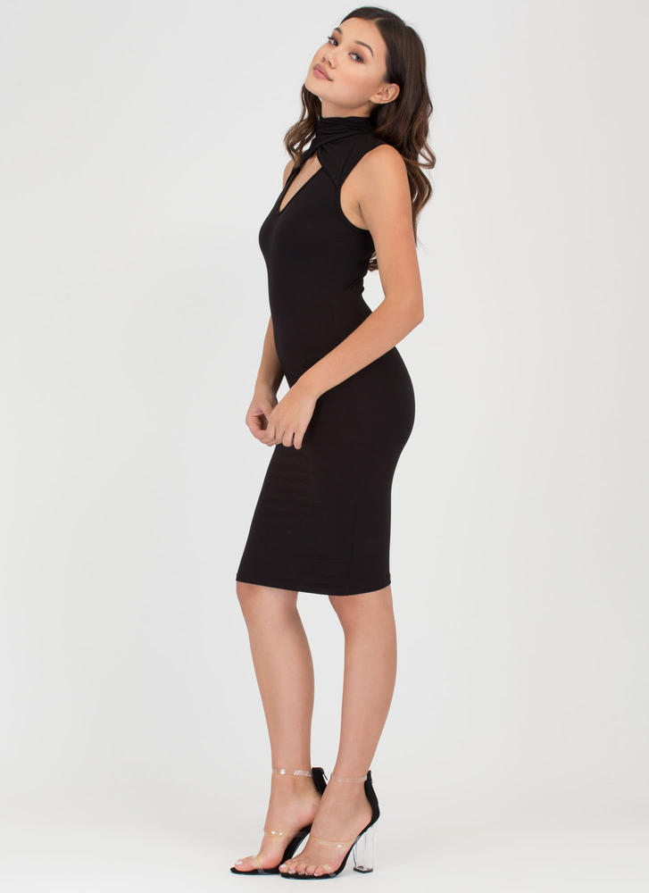 Layer It On High Neck Cut-Out Dress BLACK
