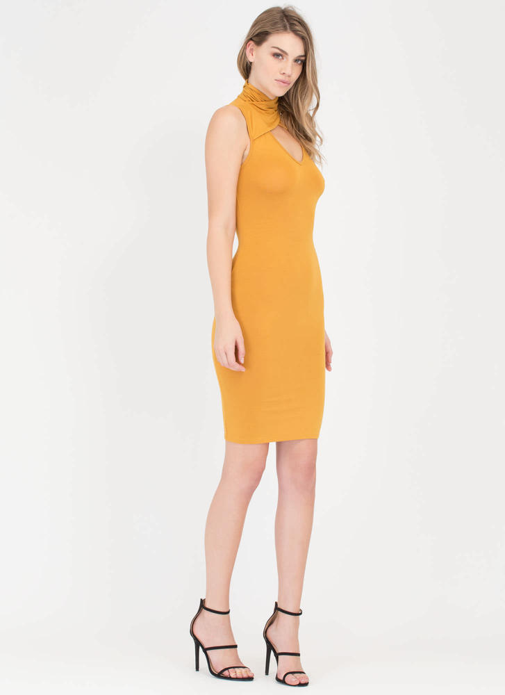 Layer It On High Neck Cut-Out Dress MUSTARD