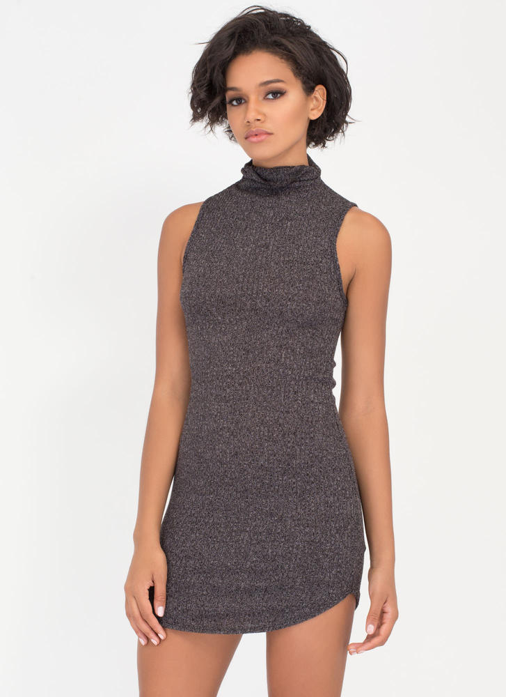 Sweater Whether High Neck Dress BLACK