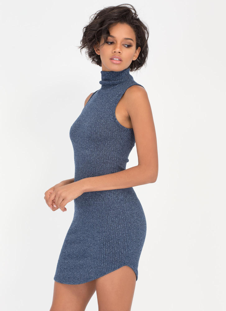 Sweater Whether High Neck Dress TEAL