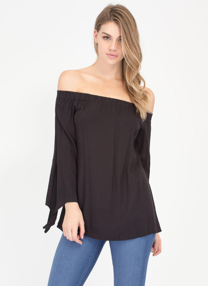 Let's Be Flare Off-The-Shoulder Top