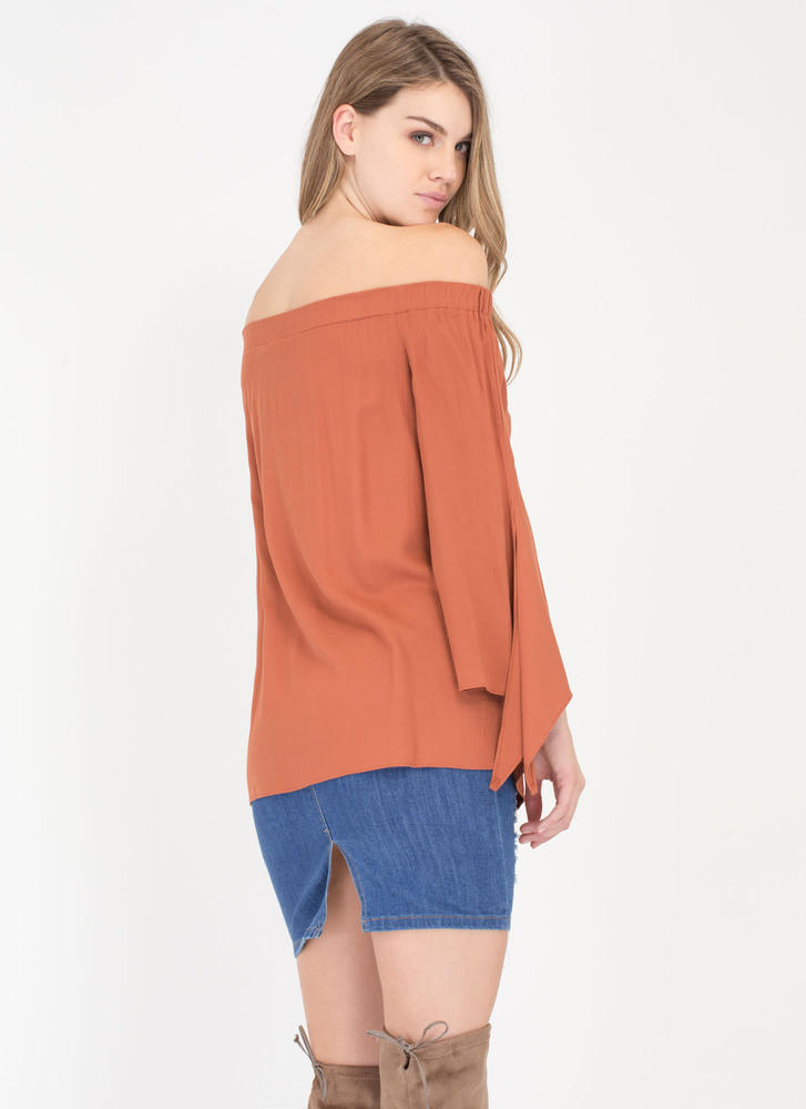 Let's Be Flare Off-The-Shoulder Top BRICK