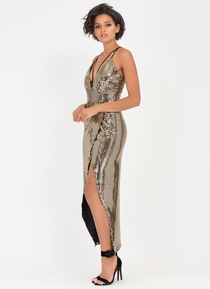 Sparkle With Me Plunging Maxi Dress GOLD
