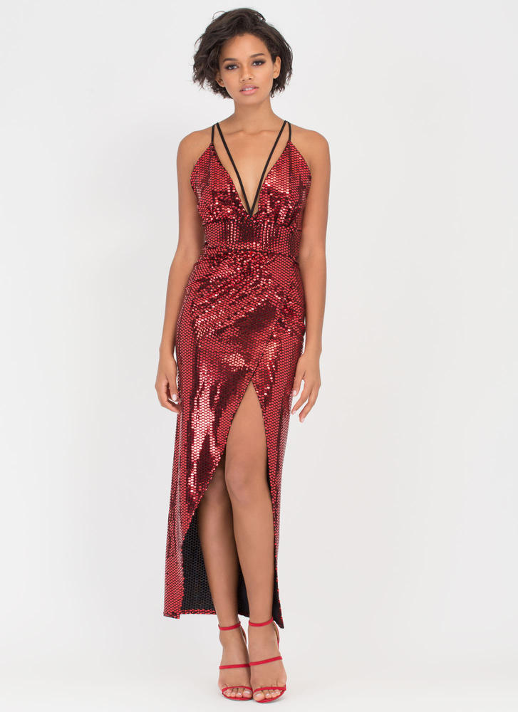 Sparkle With Me Plunging Maxi Dress RED (Final Sale)