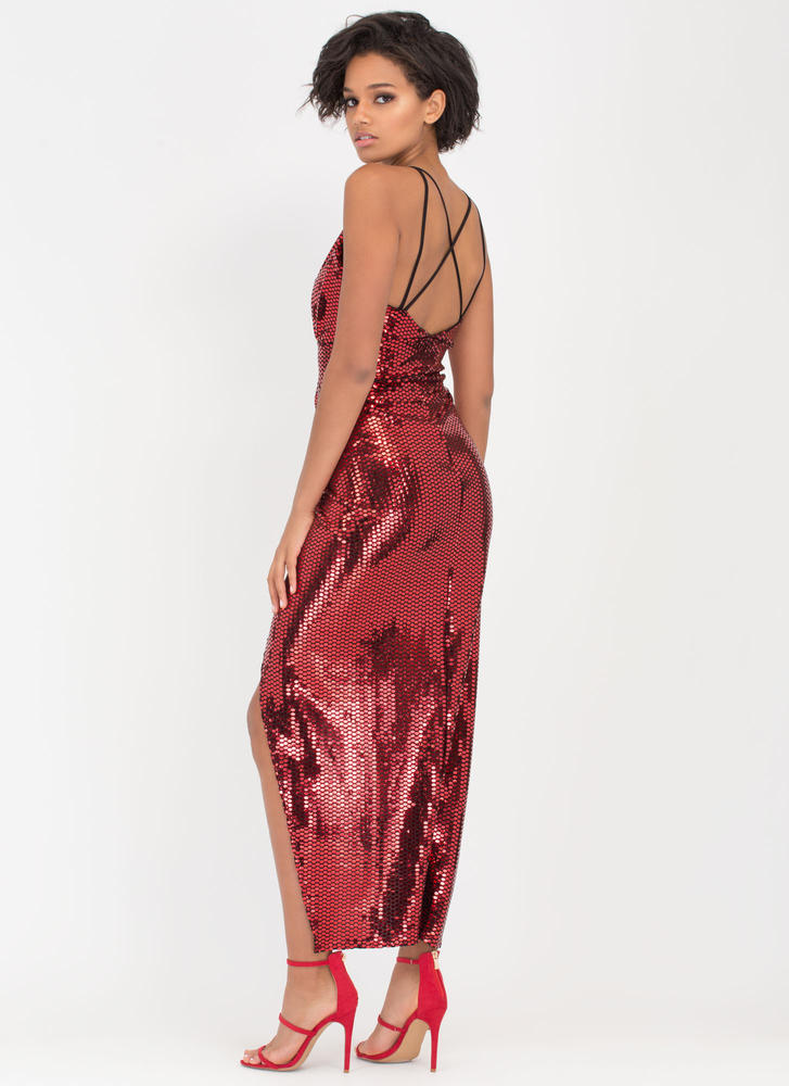 Sparkle With Me Plunging Maxi Dress RED