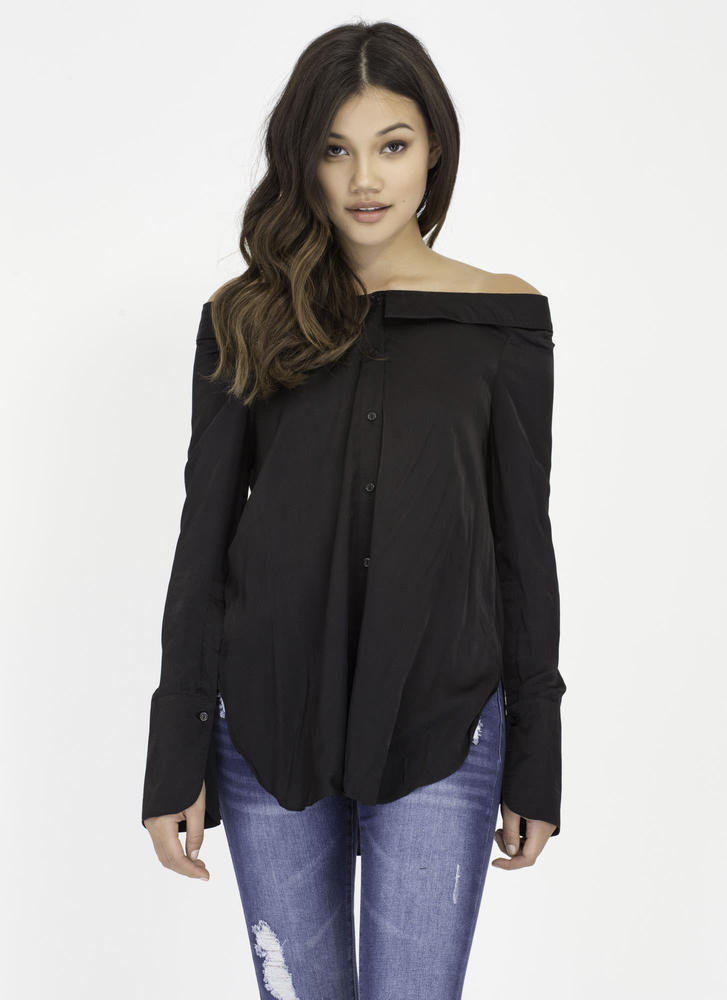 One Fine Day Buttoned Off-Shoulder Shirt