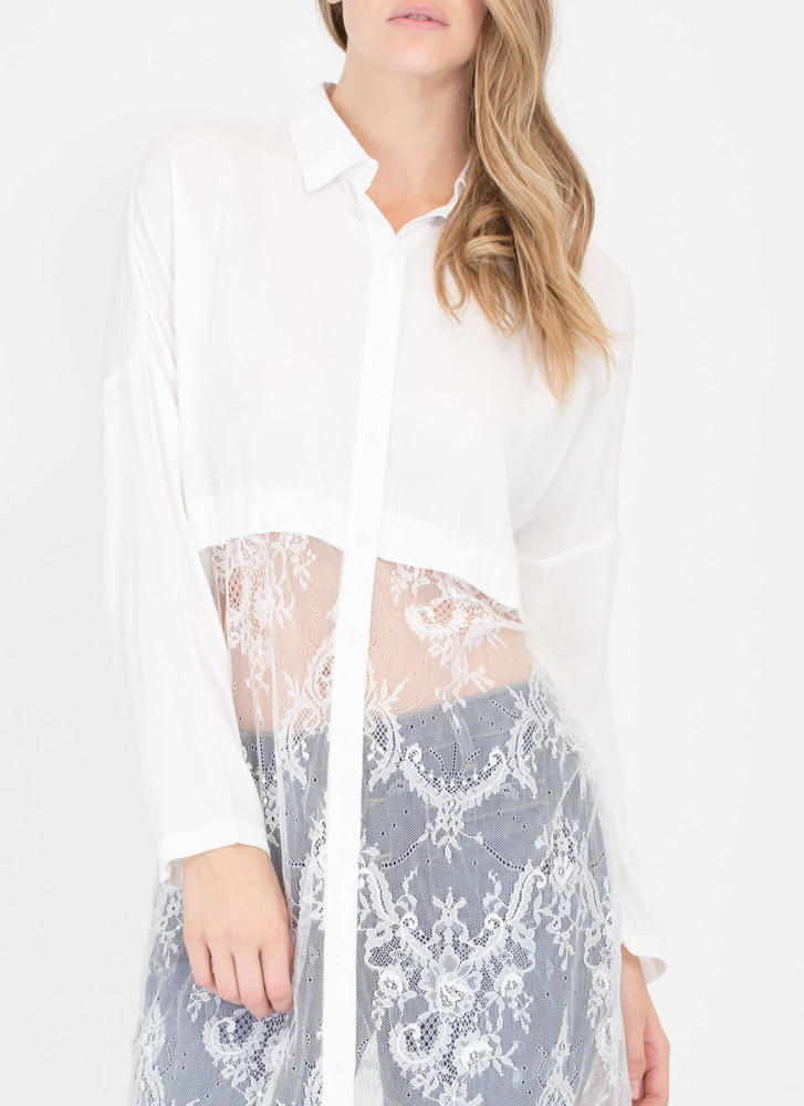 Without A Lace Longline Button-Up Shirt WHITE