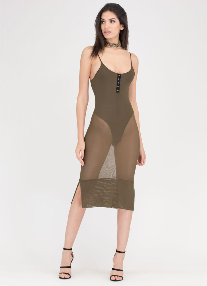 Push My Buttons Sheer Bodysuit Dress OLIVE