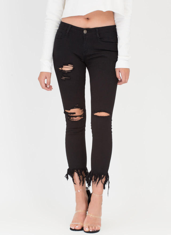 50 Shades Of Fray Cropped Skinny Jeans