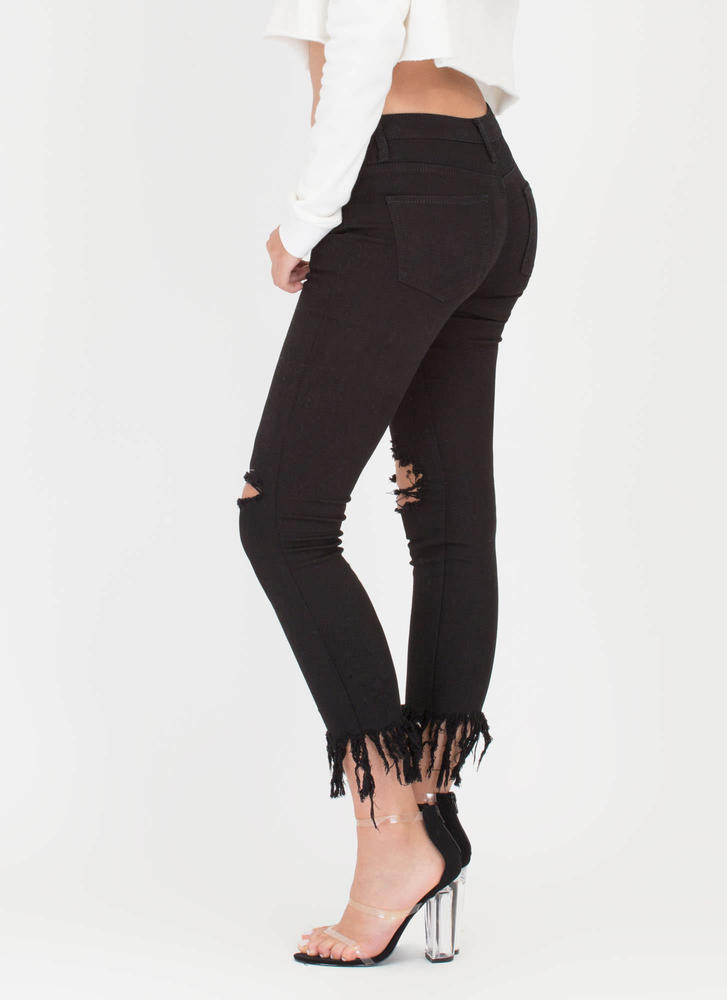 50 Shades Of Fray Cropped Skinny Jeans BLACK