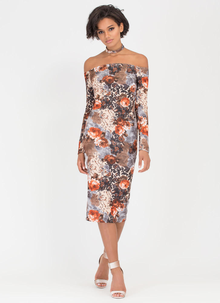 Chokers Wild Floral Off-Shoulder Dress