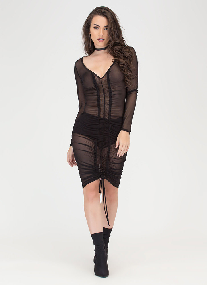 Sheer Delight Ruched Open Back Dress BLACK