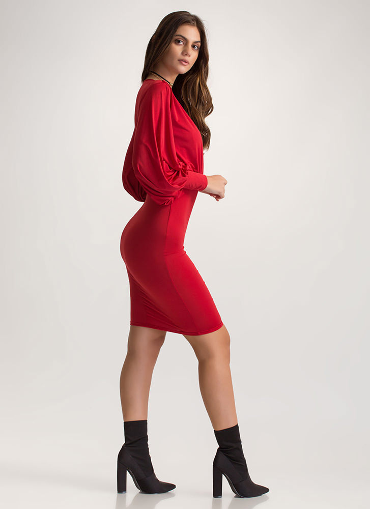 Go With The Flowy Sleeve Midi Dress RED