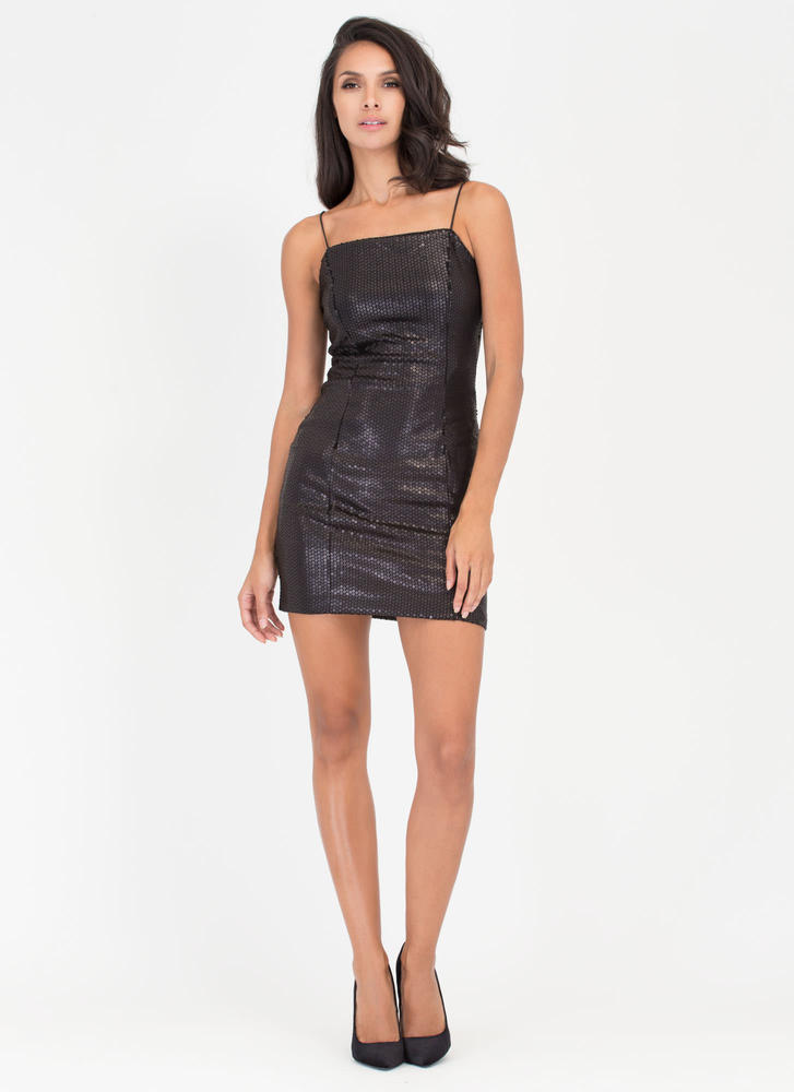 Party Over Here Matte Sequin Minidress BLACK