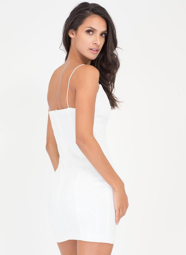 Party Over Here Matte Sequin Minidress WHITE