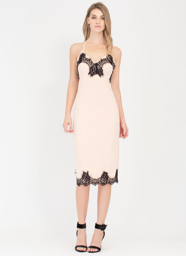 Set The Lace Midi Slip Dress BLUSH