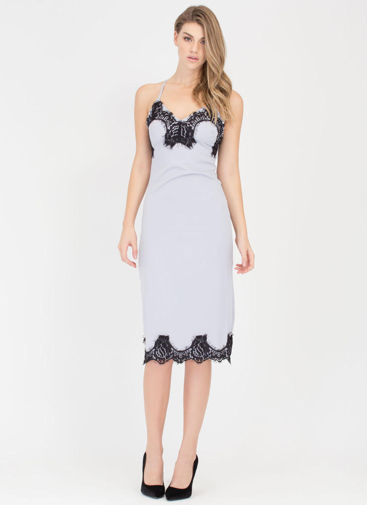 Set The Lace Midi Slip Dress SILVER