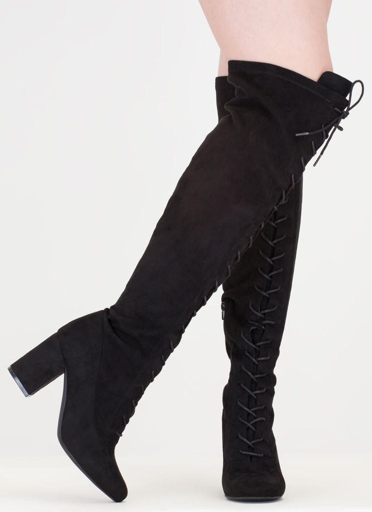 Fierce Chunky Thigh-High Lace-Up Boots BLACK