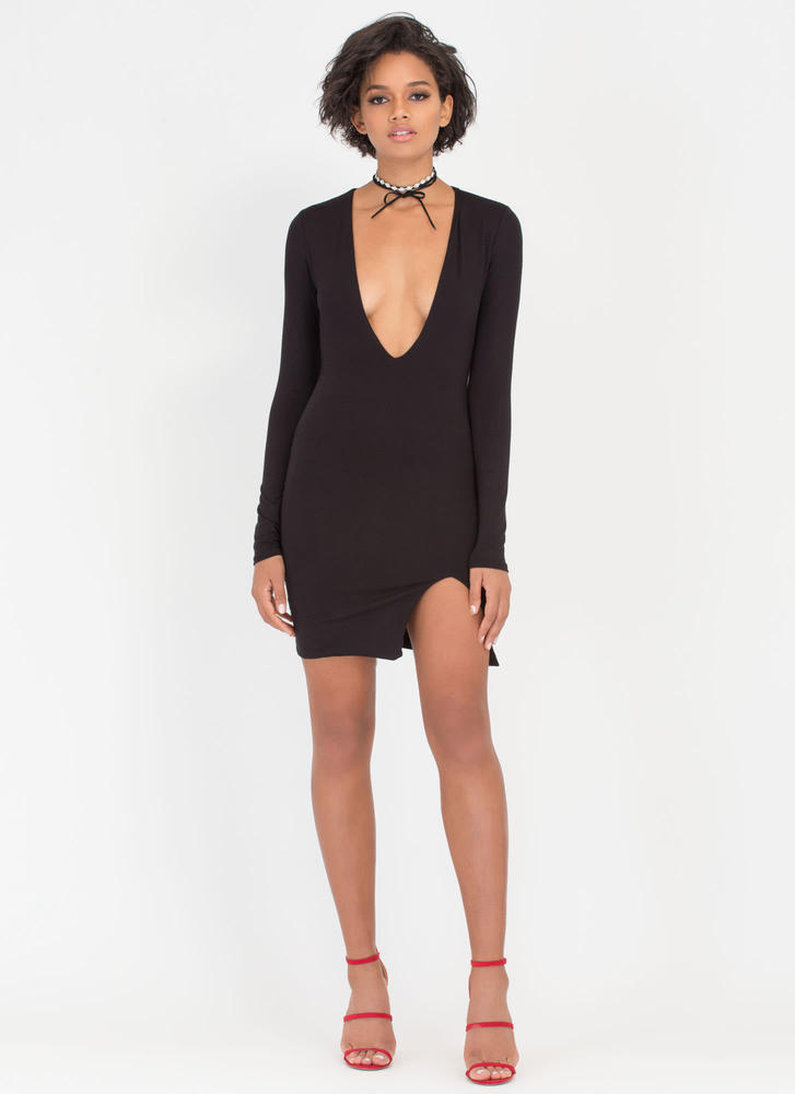 V Yourself Plunging Slit Minidress BLACK