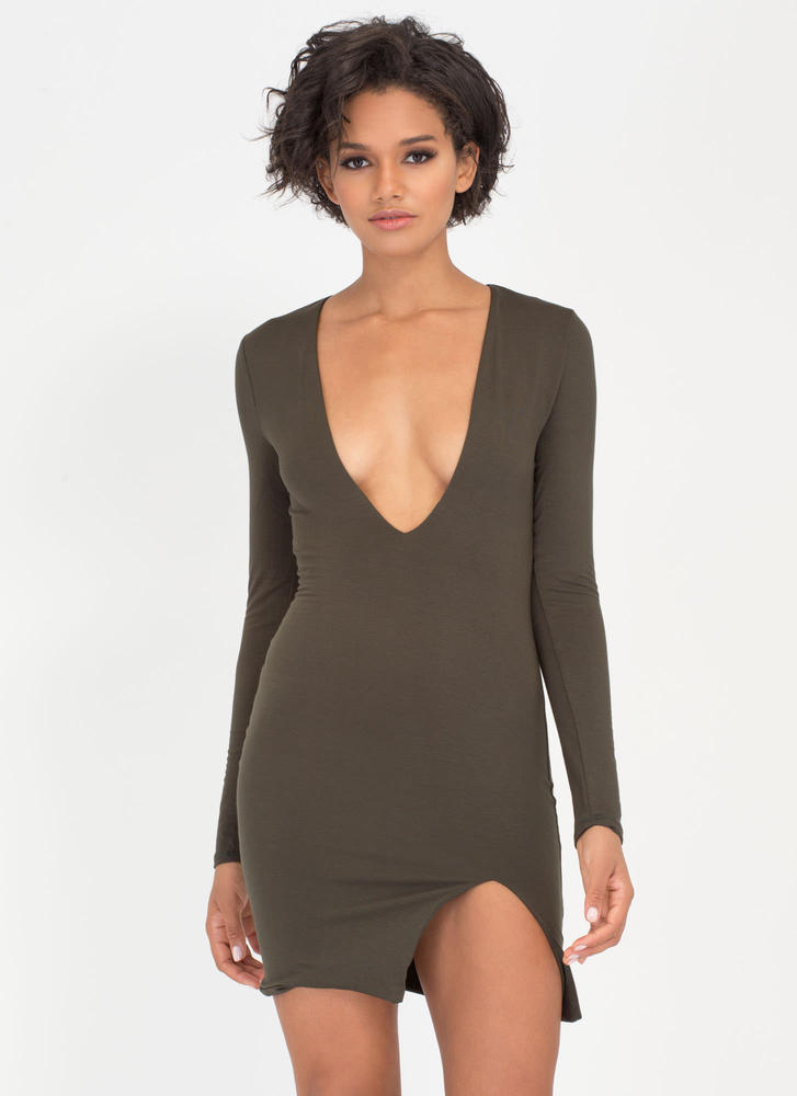 V Yourself Plunging Slit Minidress