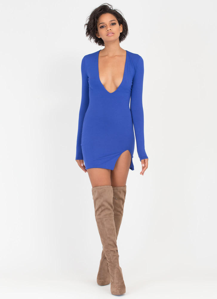 V Yourself Plunging Slit Minidress ROYAL