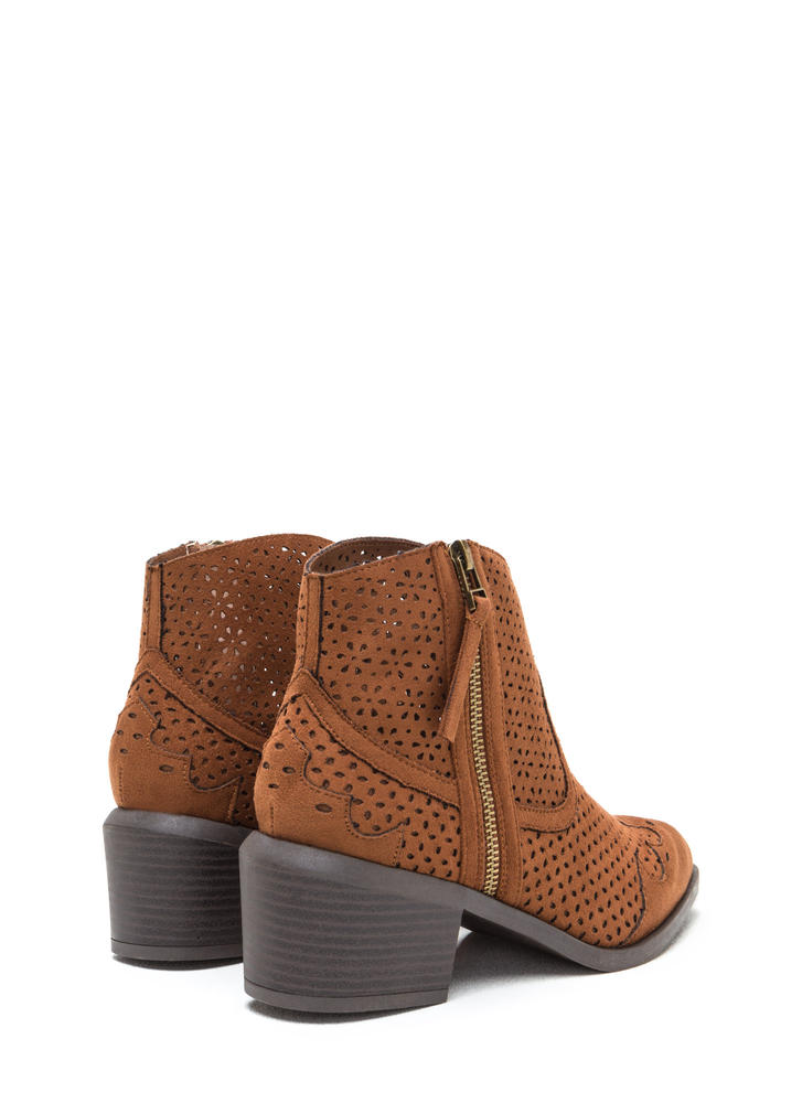 Western Trip Chunky Perforated Booties CHESTNUT