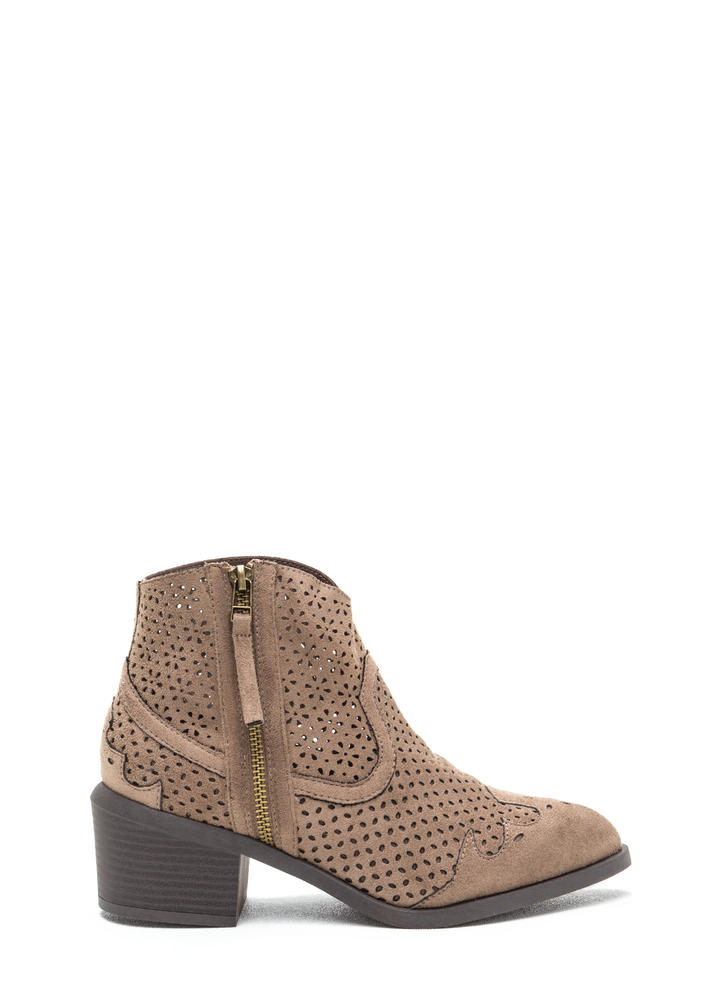 Western Trip Chunky Perforated Booties TAUPE
