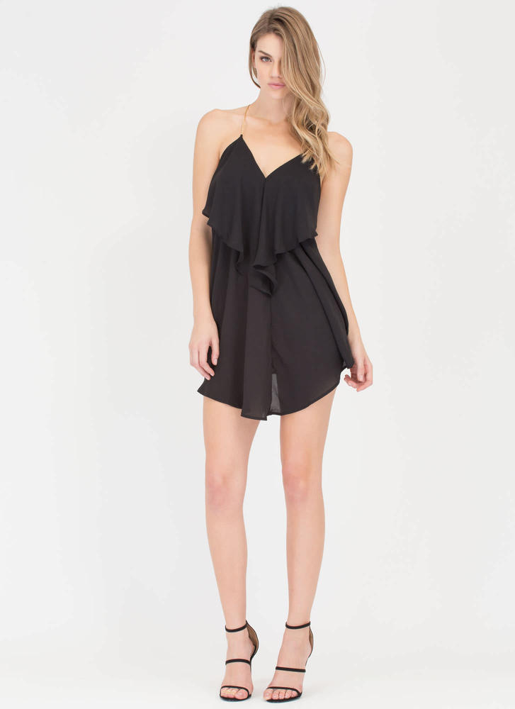 Drama Queen Chain Trapeze Minidress BLACK