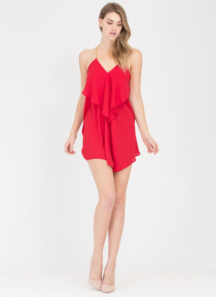 Drama Queen Chain Trapeze Minidress RED