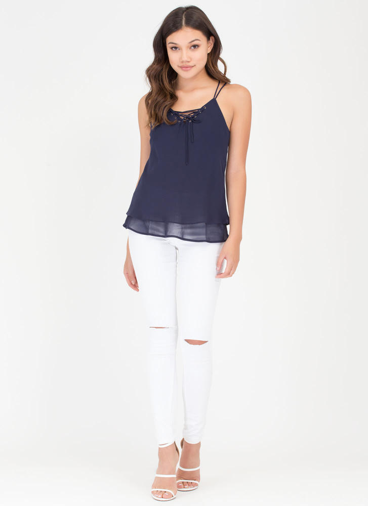 Double Or Nothing Lace-Up Cami Tank NAVY