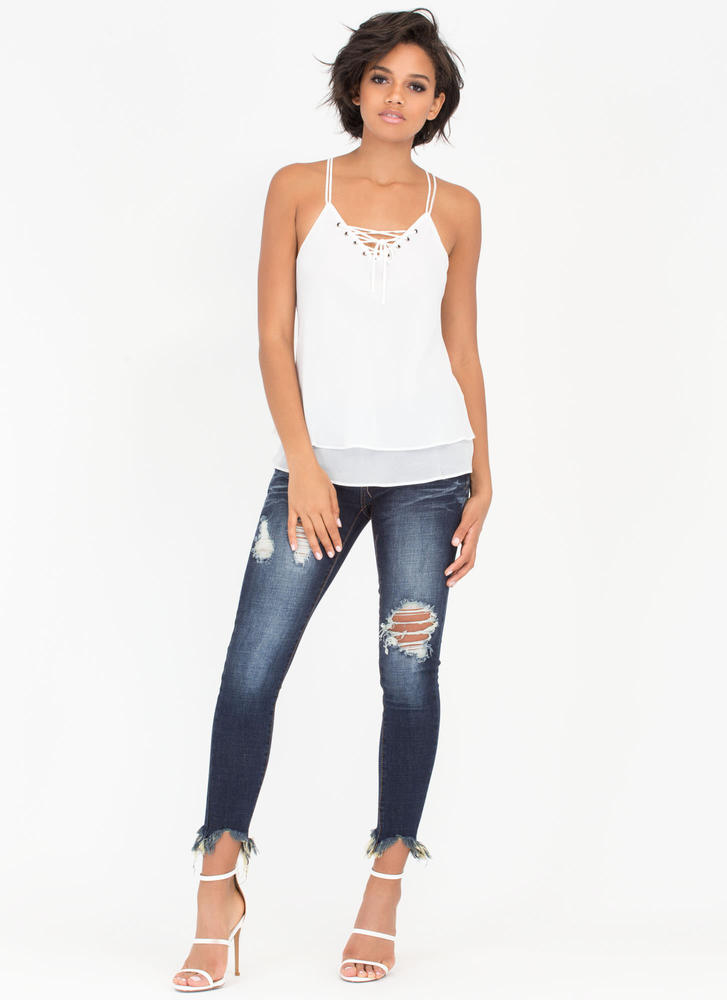 Double Or Nothing Lace-Up Cami Tank WHITE