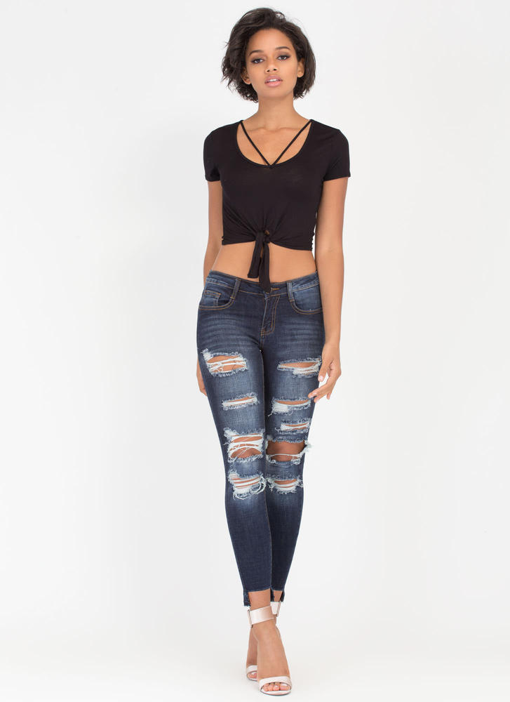V Yourself Strappy Knotted Crop Top BLACK