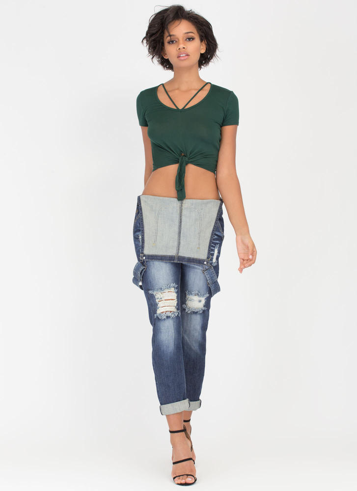 V Yourself Strappy Knotted Crop Top HGREEN