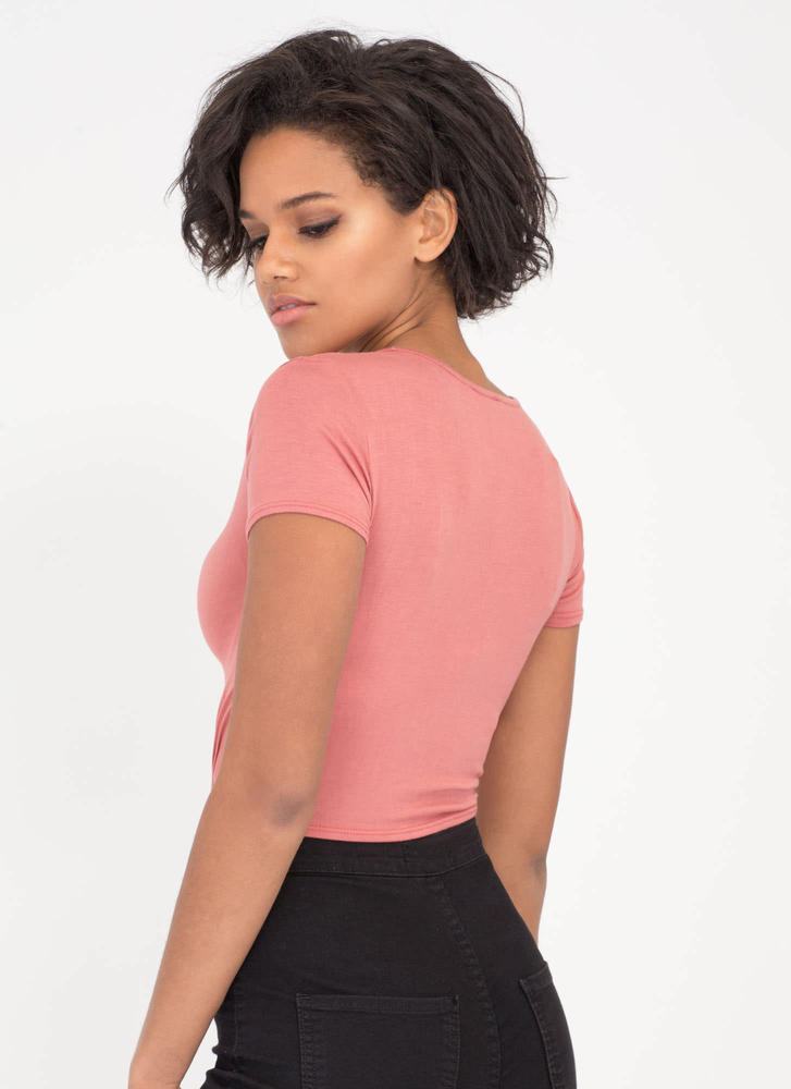 V Yourself Strappy Knotted Crop Top MAUVE