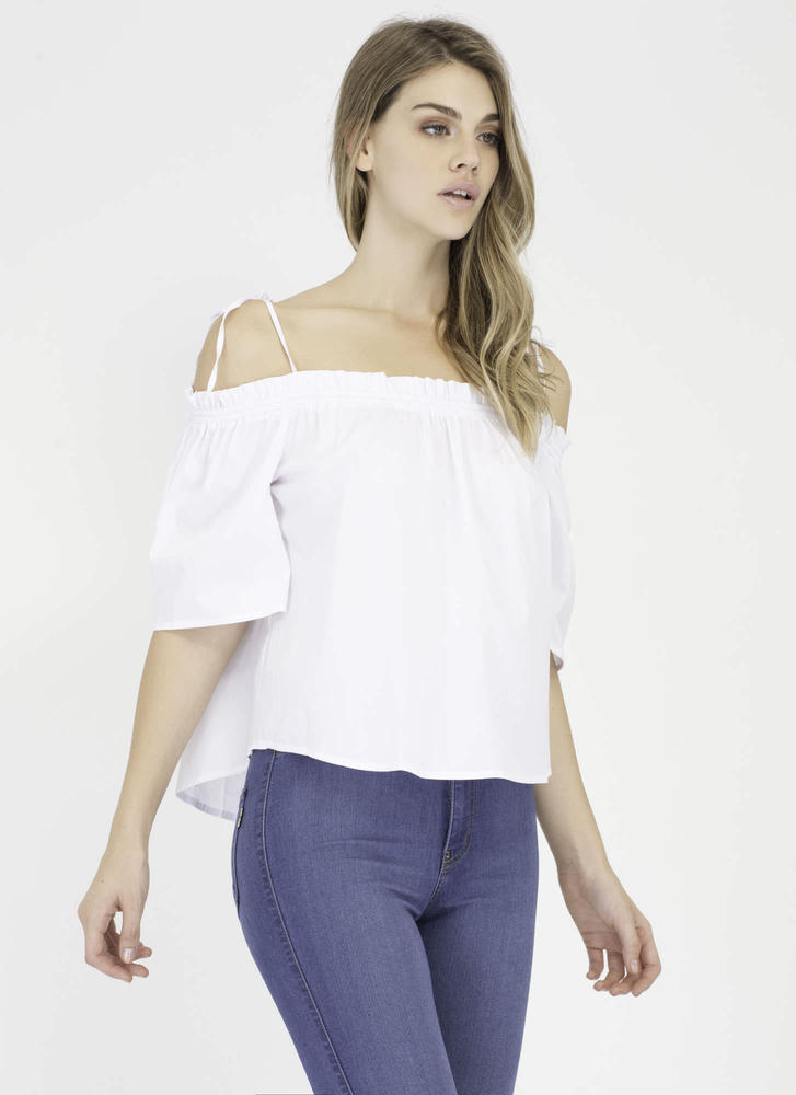 Casual Take Tied Off-Shoulder Top WHITE