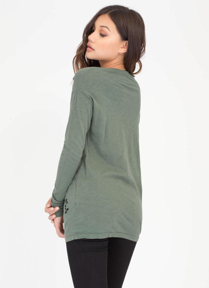 The Hole Story Distressed Burnout Top OLIVE